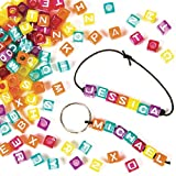Baker Ross- Cuentas de Dados con Letras (Pack de 450) para Hacer Joyas, Pulseras y Collares Infantiles