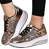 MRULIC Damen Gym Turnschuhe Freizeit Schnürer Sportschuhe Pailletten Glänzende Outface Schuhe Laufschuhe Sneaker Wedges Schuhe(Gold,37 EU)