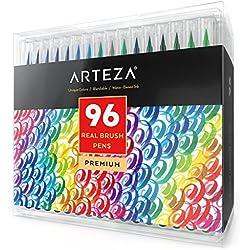 ARTEZA Caja de 96 rotuladores de pincel   Pinceles con tinta de agua   12 colores individuales   Ideales para caligrafía y coloreado