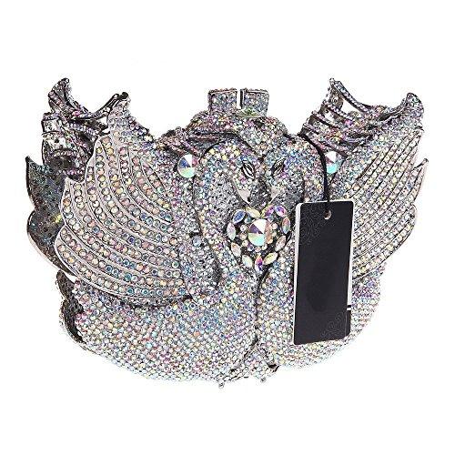 Santimon Clutch Delle Donne 3D Cigno Borse Da Festa di Nozze Sera Borse Per Le Donne Con Strass Di Diamante Cristallo Tracolla Con Removibile 4 Colori argento