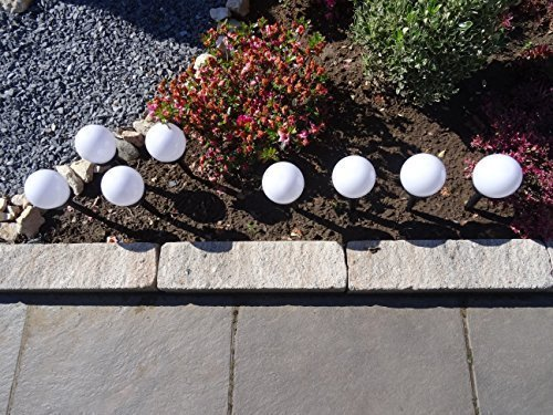 8er Set Solar Gartenleuchten Solarleuchten Garten Balkon Kugel Kunststoff wetterfest Solarleuchte Solar LED Wegeleuchte Gartenbeleuchtung 34cm Wegelampe Solarlampen - aus Kunststoff, wetterfest mit integriertem Solarmodul und Erdspieß - Durchmesser der Kugel 10 cm