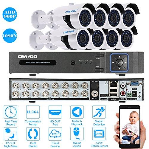OWSOO-16CH-1080N-DVR-H264-Grabador-8x-960P-AHD-Cmara-Bala-IR-CCTV-8x-60ft-Cable-de-Vigilancia-Soporta-APP-Control-Deteccin-de-Movimiento-Visin-Nocturna