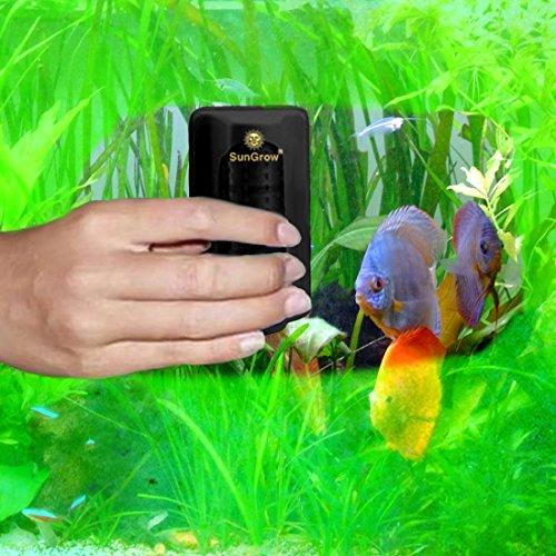 Magnet Aquarium Glasreiniger –-Starker Magnet erleichtert Algen entfernen–hält Ihren Hände Trocken, Kontaminationsfrei bedienbar–Floating Innen Bürste bleibt gravel-free–Macht für kratzfreie Reinigung