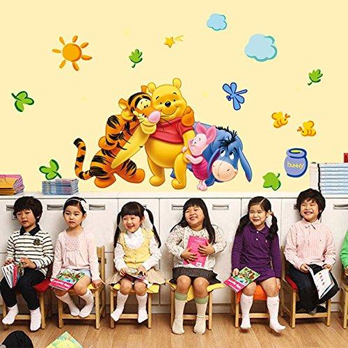 (ufengke home Winnie The Pooh & Freunde Wand-Aufkleber für Kinder Umfasst Pooh, Ferkel, Eeyore & Tigger Dekorative Wandtattoo Abnehmbare DIY Vinyl Wandsticker für Kinderzimmer,Spielzimmer)