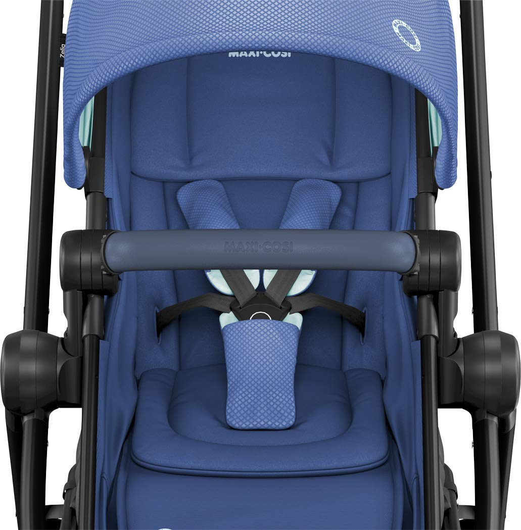 Maxi-Cosi Zelia Baby Pushchair, Lightweight Urban Stroller from Birth, Travel System with Bassinet, 15 kg, Essential Blue Maxi-Cosi Flexible stroller from birth to 3.5 years 2-in-1 seat unit: zelia's seat transforms into a pram bassinet for use from 0 - 12 m in a single movement This city stroller is easy to carry thanks to its lightweight 5