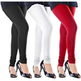 Women's Combed Cotton Leggings (Black, White and Red, XL) Set of 3