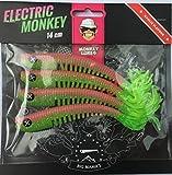 Monkey Lures Hairy Lui - 14cm - 4 pro Packung - 9 verschiedene Farben - Angelköder / Gummifisch für Zander, Hecht und Barsch, Electric Monkey