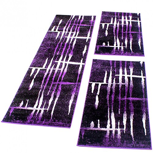 Bettumrandung Läufer Teppich Meliert Design Lila Schwarz Creme Läuferset 3 Tlg., Grösse:2mal 70x140 1mal 70x250