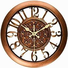 Foxtop Retro silenzioso Orologio da parete con facile vedere numero arabo display, orologio da parete d'epoca per la casa decorazione dell'ufficio, Diametro 28 cm