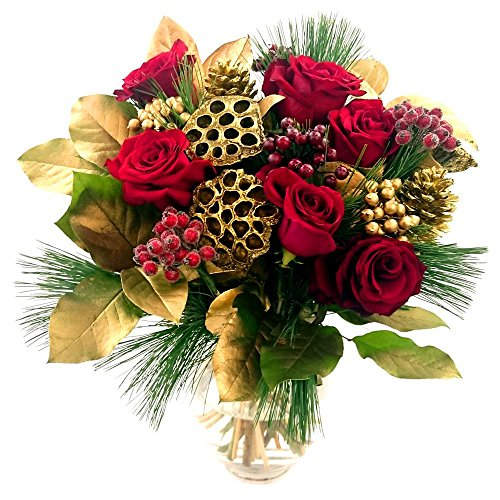 Clare Florist Traditional Festive Cheer Bouquet - Fresh Roses and Berry Flowers for Christmas