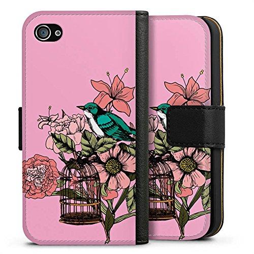 Apple iPhone X Silikon Hülle Case Schutzhülle Vogel Tattoo Blumen Sideflip Tasche schwarz