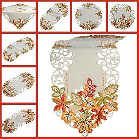 Otoño Camino de mesa Mantel Blanco bordado con hojas multicolores Mantel Deck Chen, poliéster, blanco, 30 cm x 160 cm
