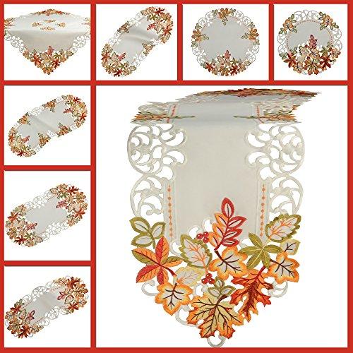 Tischdecke Weiß gestickt mit bunten Blätter Mitteldecke Deckchen (ca. 85 x 85 cm) (Herbst Blätter Tischläufer)