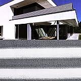Balkon Sichtschutz grau weiß gestreift 600x75 Balkonsichtschutz Balkonumrandung Balkonverkleidung Windschutz