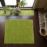 Shaggy-Teppich   Flauschiger Hochflor fürs Wohnzimmer, Schlafzimmer oder Kinderzimmer   einfarbig, schadstoffgeprüft, allergikergeeignet in Farbe: Grün; Größe: 150 x 150 cm quadratisch