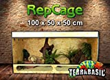 TerraBasic - Terrario per rettili RepCage, con ventilazione laterale e pannello frontale inferiore in vetro, 100 x 50 x 50 cm