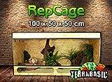 TerraBasic RepCage 100x50x50, Seitenbelüftung, Glassteg, schwarze ABS Kanten