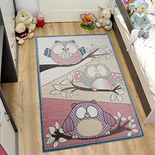 Dick-designer (TAPISO HAPPY Kinder Teppich Kurzflor | Designer Kinderteppich in Pastell Creme Rosa Pink Bunt Mehrfarbig mit Abstrakt Eulen Muster | Perfekt für Kinderzimmer | ÖKOTEX 160 x 220 cm)