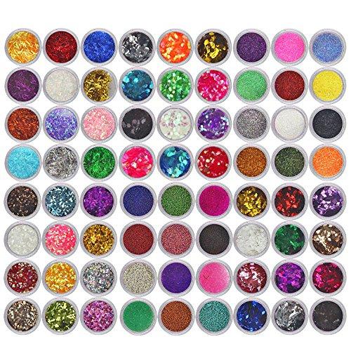 PAOLIAN 72 Colori Set di Punte per Smalto per Unghie in Polvere Acrilica Spillata Glitterata per Unghie Nail Art Glitter Polvere