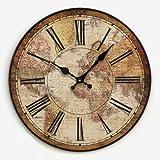guazzbbia Eine Karte der Welt der Mode und Kreative Persönlichkeit Retro - Pastoralen Wohnzimmer Wanduhr Uhr Wanduhren Dekoartikel Digitale Wecker