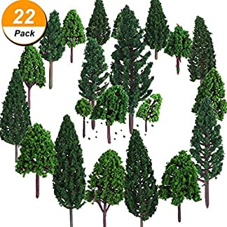 Bememo 22 Piezas de Modelo de Árbol 3 – 16 cm de Árboles de Modelo Mezclados Árboles de Tren Árbol Diorama de Paisaje de Ferrocarril Árboles de Arquitectura para DIY Paisaje, Verde Natural