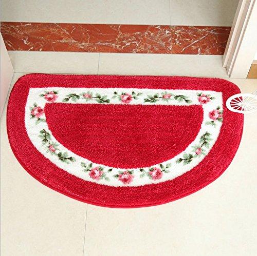 Ewfsef Jolies Fleurs de rose en forme de demi-lune Tapis de bain Tapis de sol (Rouge)