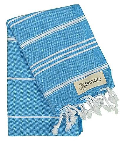 Bersuse 100% coton - Anatolia Petite serviette turque - Pour la tête, les cheveux, le visage, les soins de bébé et la cuisine - Drap de bain, serviette de plage en Fouta Peshtemal - Pestemal rayé de manière classique - 55 X 90 cm, Bleu Océan