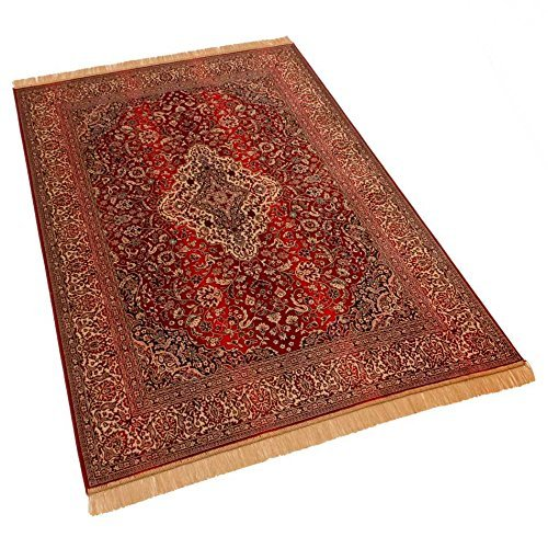 Barefoot 160 x 230 cm Persian Medallion Traditional Design Faux Silk Effect Viscose Rugs, Red, Large