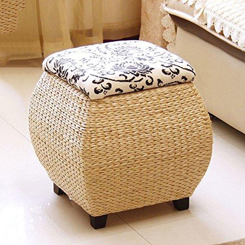 Sgaesserello tonda in rattan tamburo sedia legno scarpe sgaesserello adulto sede tè sgaesserello,can essere usato come pouf sgaesserello,poggiapiedi,bambini sgaesserello,mungitura sgaesserello,divano tè sgaesserello-b 40x40x40cm(16x16x16)
