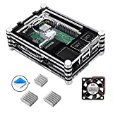 Für Raspberry Pi 3 b+ Gehäuse, Smraza Case mit Lüfter + 3x Aluminium Kühlkörper Kompatible mit Raspberry Pi 3 2 Model b+ (Raspberry Pi Board nicht enthalten)