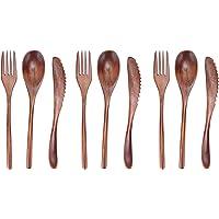 9 Pièces Couverts de Table en Bois, Ensemble de Coutellerie Réutilisable Couteau, Fourchette, Cuillère pour le Camping…