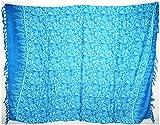 Paréo Plage Femme Serviette de Plage Sarong Drap Pareo Ethnique Bain Mer Beach Cover Up Wrap Skirt Coton bleu turquoise 100 x 140 cm