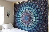 Naledi quadratisch Mandala Tapisserie Bohemian Beach, Psychedelic Art Wand, Wohnheim Dekor Strand Werfen, indischen Wall Wandteppiche Kunst  zum Aufhängen, Yoga Mat, Picknick, Tisch Überwurf, blau, Large
