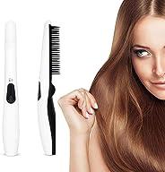 Hair Straightener Brush, Womdee Beard Straightener Brush Upgraded Cordless USB Rechargeable Hair Straightening Brush, Quick S