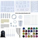 159 Stuks Hars Mallen Siliconen Epoxy, Hars Mold Sieraden Kit, DIY Casting Resin Mold, met Meting Cup en 24 Pailletten, voor