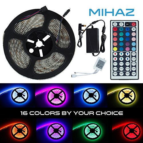 Mihaz 16.4ft 5M SMD 5050 RGB 16 modi LED Strisce luminose, impermeabile luci di striscia LED Kit, 300 LED striscia rotolo di nastro + 44 chiave di IR Remote + 12V adattatore di alimentazione UK LED