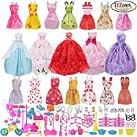 Doll Clothes Party Gown Outfits and Accessories for Barbie 117 Pcs - 19 Party Dresses and 98 Shoes Accessories Cooking Bracket Birthday Xmas Gift for Girl