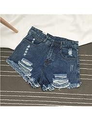WHTLL-Shorts En Denim Taille Haute Vieux Short De Sport Coréen Usé Trou De Lavage De Rue