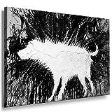 Banksy Dog Street Art Graffiti Bild 101x71cm von artfacktory24 D-3142 fertig auf Keilrahmen - Kunstdrucke, Leinwandbilder, Wandbilder, Poster, Gemälde, Pop Art Deko Kunst Bilder