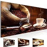 Bild 100 x 40 cm - Kaffee Bilder- Vlies Leinwand - Deko für Wohnzimmer -Wandbild - XXL Teile - leichtes Aufhängen- 801612b
