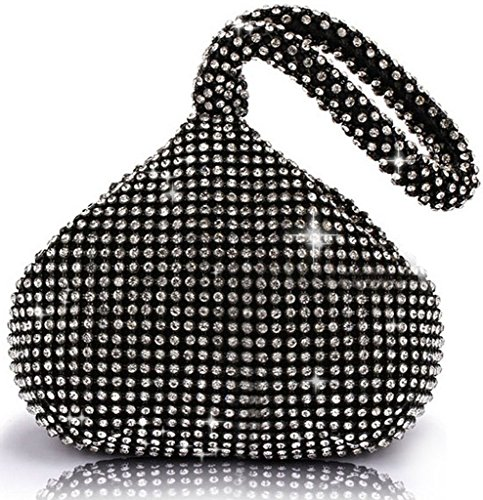 ERGEOB® Donna Clutch Kreatives Design diamante/aluminium borsetta sacchetto di sera triedro Festa taschino Kristall nero