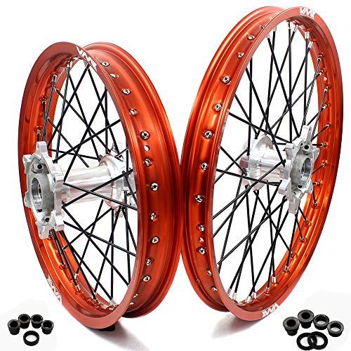 VMX Enduro 21/18 Casting Felgen Set FÜR KTM 250 300 450 500 EXC EXC-F 350 Freeride2003-2019 Dirt Bike in 21 Zoll 18 Zoll (Silver hub/Orange rim)