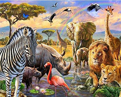 Diy Ölgemälde Malen nach Nummer Kit für Kinder Erwachsene Anfänger 16x20 Zoll - Tierwelt, Zeichnen mit Pinsel Weihnachtsdekor Dekorationen Geschenke (Ohne Rahmen) -