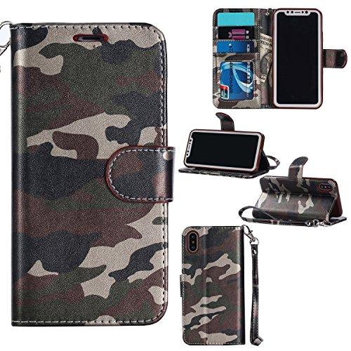 (ZHJTMC Großhandels-PU-Leder-Schlag-Kastenabdeckung Armee-Tarnungs-Kreditkarte-Geldbörse für iPhone X iPhone 10 (Color : Green, Size : Ipx))