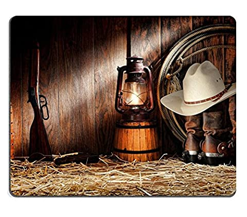 MSD Natural Rubber Gaming Mousepad IMAGE ID: 11356334 American West rodeo cowboy authentic working gear with white straw hat atop genuine roper leather boots and old Western rifle gun in a vintage ran