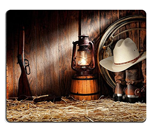 Msd Natural rubber Gaming Mousepad Image ID: 11356334 American West Rodeo cowboy autentico lavoro Gear con bianco cappello di paglia Atop Genuine Roper stivali di pelle e vecchio occidentale fucile in un vintage Ran