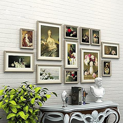 HJKY Photo Frame Wall Set Photo décoration murale en bois Continental Salon mur mur photo Restaurant combinaison créative de la peinture murale cadre, ses couleurs + fleurs et les chipsets d'animation