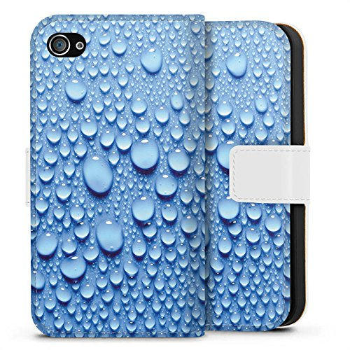 Apple iPhone X Silikon Hülle Case Schutzhülle Wasser Tropfen Muster Sideflip Tasche weiß