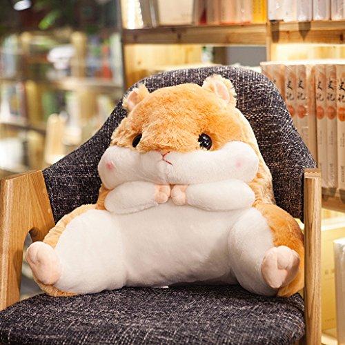 WYQLZ Mignon Hamster Étudiant Chaise Coussin Taille Oreiller Bureau Taie Oreiller Creative Bande Dessinée De Mode Coussin Dos Pad ( Couleur : Le jaune , taille : 53*45*25cm )