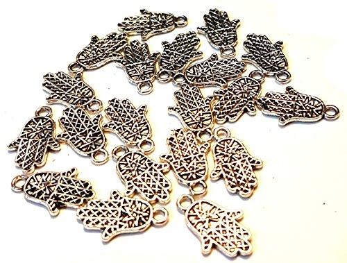 Star Hand Charms. 10mm x 16mm. Verschiedene Farben erhältlich. Hand der Fatima (Hamsa), Schutz Amulett Anhänger. Schaffen, Schmuck. silber ()